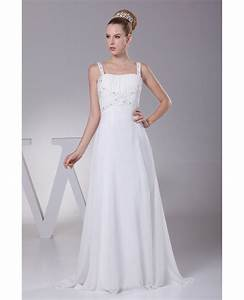 plain white beading straps long pleated wedding dress with With little wedding dress