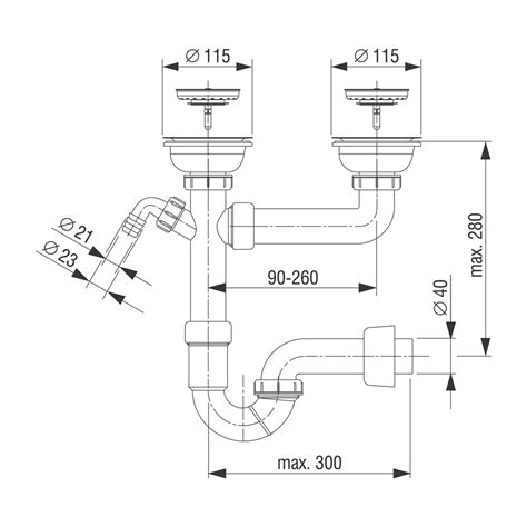 double sink disposal drain routing sink trap for double sink with connection