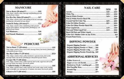 pages menus page  nails salon salon print nail