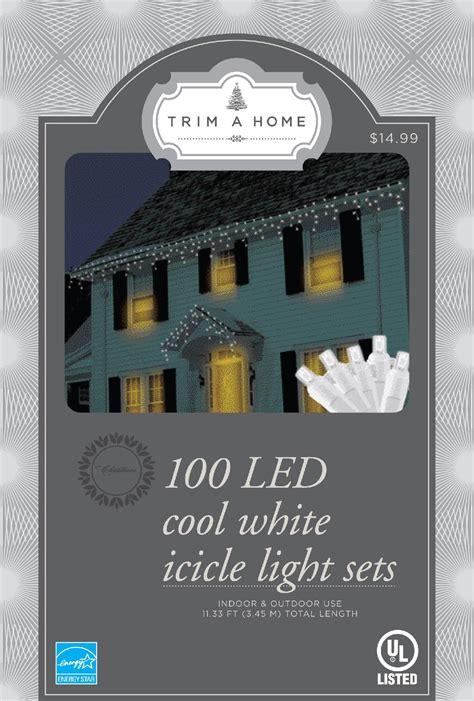 ecosmart 100 light led warm white m5 light set trim a home white led icicle lights kmart