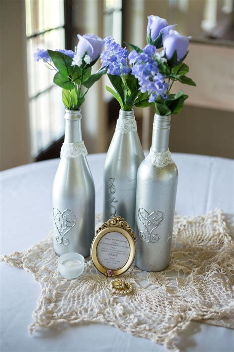 Wine Bottle Centerpieces;Vintage wedding Wine bottle