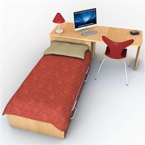 bed and desk set 3d model bed desk