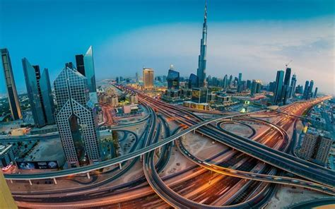 Download Wallpapers Dubai, Panorama, Uae, Modern