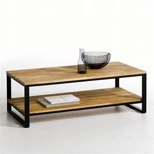 Table Basse Chne Et Acier Hiba Naturel La Redoute