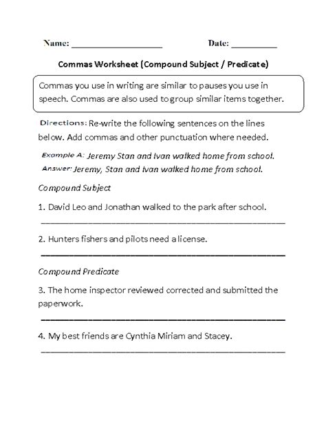 compound subject  predicate commas worksheet subject