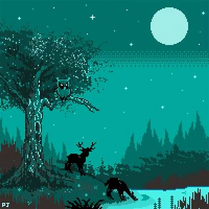 Pixel Bit 8bit Moonrise Gifs Animation Funny