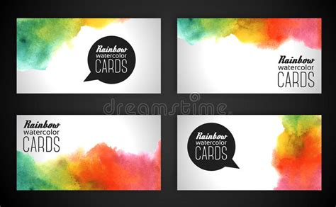 Watercolor Rainbow Business Cards. Stock Vector American Psycho Novel Business Card Chapter Visiting Design Art Nouveau Scanner App Android Reviews For Graphic Free Aspect Ratio