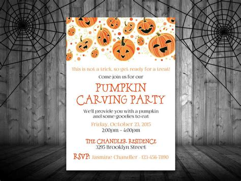 Pumpkin Carving Party Invitation Template Halloween