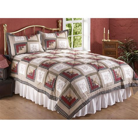 Quilt And Sham Set by Cross Stitch Log Cabin Cotton Quilt And Sham Set