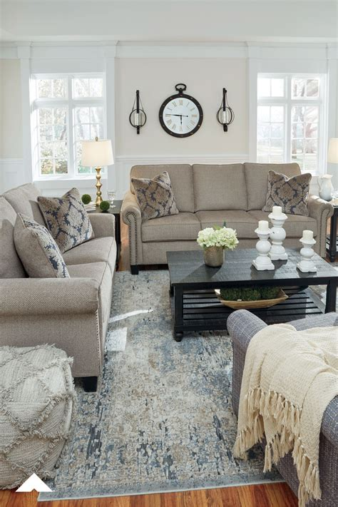 Basiley Pewter Sofa And Loveseat Living Room Decor Ideas ...