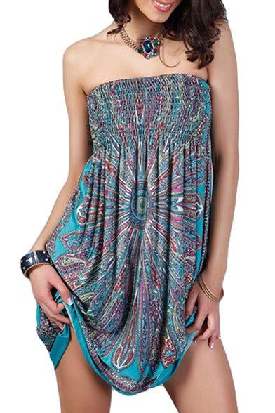 fashionable elastic chest strapless flower print dress