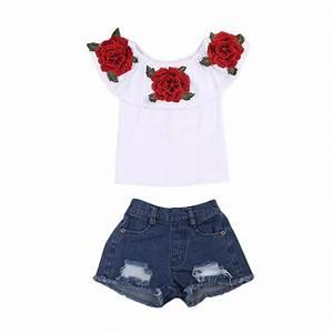 Summer Rose Kids clothing Toddler Kids Baby Girls off shoulder Tops Denim Hot shorts Outfits ...