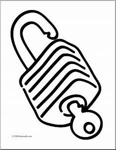 Clip Art: Basic Words: Lock (coloring page) I abcteach.com ...