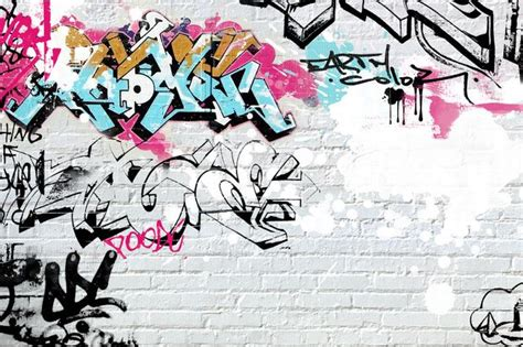 white brick graffiti wall mural photo wallpaper