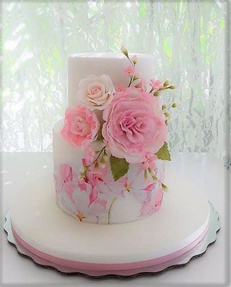 Pink Cake With Flowers For A Baby Girl   CakeCentral.com