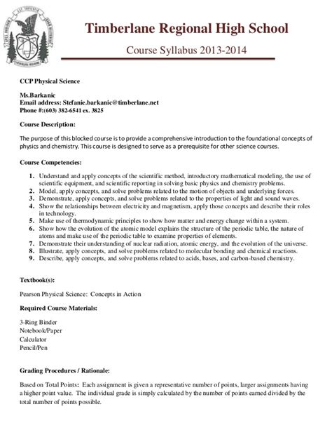 middle school syllabus template ccp phy sci trhs syllabus template