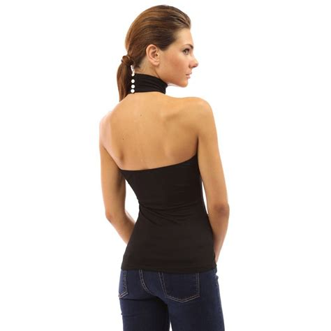 halter blouse womens open back sleeveless turtleneck halter blouse