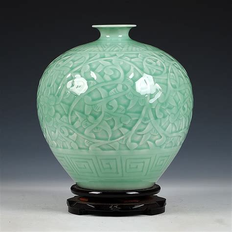 antique jingdezhen chinese ceramic green engraving jade