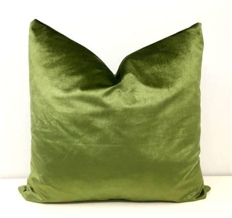 Olive Green Pillow Cover Velvet Pillow Green Throw Pillow ...