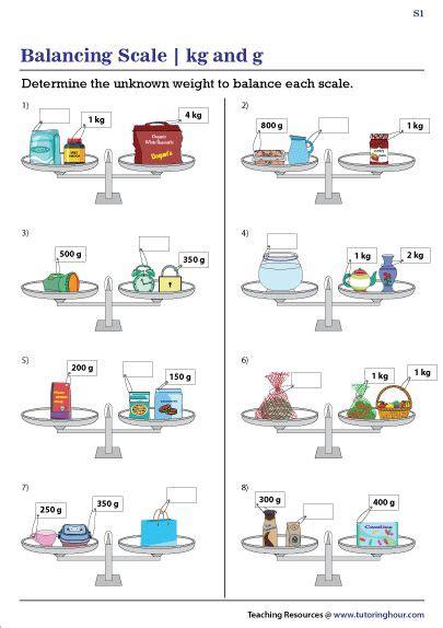 balance scale worksheets kilograms  grams