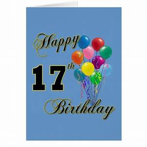 Happy 17th Birthday Design with Balloons Cards | Zazzle
