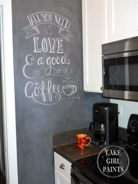 chalkboard paint kitchen ideas lake girl paints painting my kitchen wall with chalkboard paint