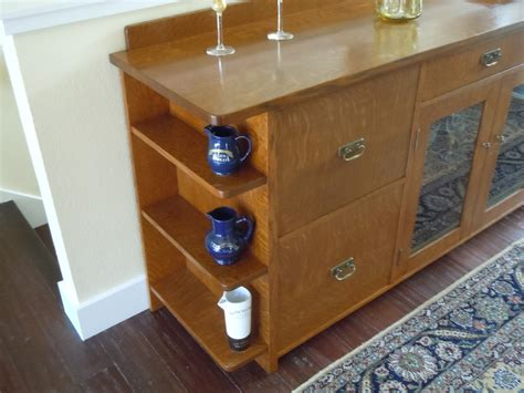 Sideboard Liquor Cabinet by Voorhees Craftsman Mission Oak Furniture Custom 9 Foot