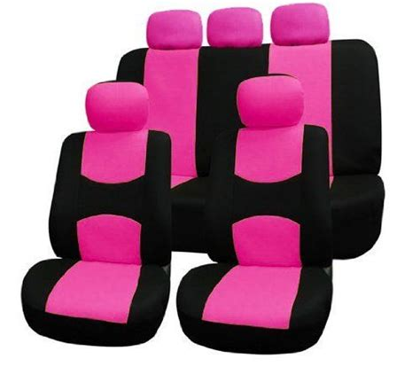 Fhfb050115 Flat Cloth Car Seat Covers Pink  Black Color