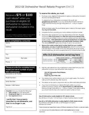 fillable   ge dishwasher recall rebate program dw ge appliances fax email print