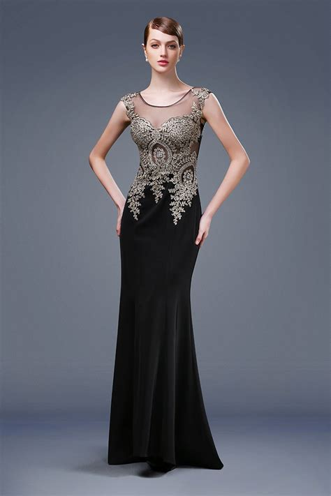 Mermaid Illusion Neckline Sheer Back Black Satin Gold Lace ...