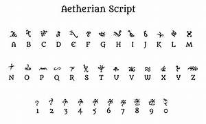 aetherian39 script strange weird alphabets With unusual letters alphabet