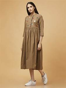 Buy Brown Hand Embroidered Cotton Dress Satuch Sag10apr1