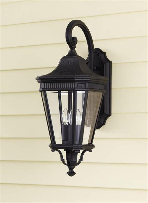 feiss three light black clear beveled glass wall lantern