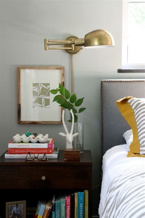 bedroom lighting design brass wall sconces shelves