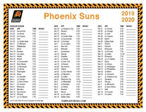 printable   phoenix suns schedule