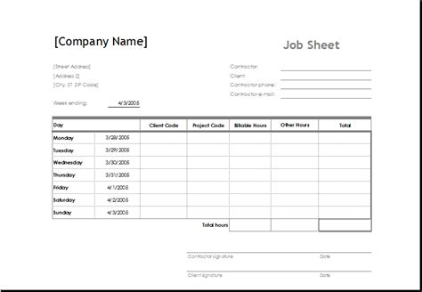 sample job sheet template  ms excel excel templates