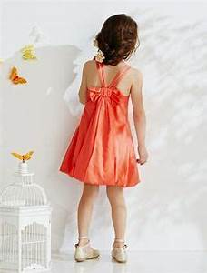 Robe de ceremonie fille forme boule blanccorailimprime for Robe ceremonie corail