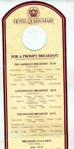The concept behind the restaurant is for it to be a place where people can eat, drink and listen to great music in an intimate setting. Hotel Queen Mary Door Hangar Room Service Breakfast Menu Long Beach California | eBay