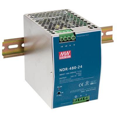 NDR-480-24: MEAN WELL : 24 Volt 20 Amp 480 Watt Industrial ...