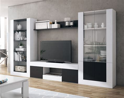 mueble de salon en color blanco  negro de  centimetros