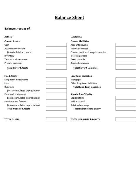 printable blank balance sheet template template  print