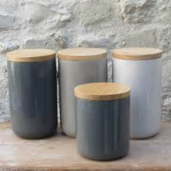 black canister sets for kitchen ceramic storage jars with wooden lids by horsfall wright