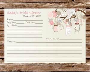 Custom printable rustic vintage mason jars bridal shower for Bridal shower recipe cards templates