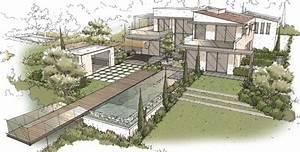 jardin contemporain architecte paysagiste thomas With plan maison entree sud 6 realisations architecte paysagiste thomas gentilini