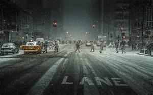 #landscape, #city, #snow, #urban, #traffic lights, #street ...