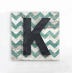 reserved for sean large painted letter k on reclaimed With chevron letter k