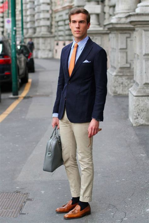 khaki and blue striped how to wear a navy blazer the idle