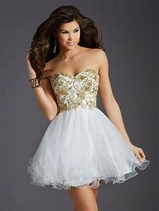 2015 Clarisse Homecoming Dresses Ball Gown Gold Appliques ...