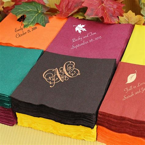 custom printed fall theme cocktail napkins set