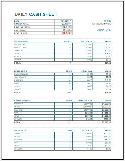 daily cash sheet template  ms excel excel templates